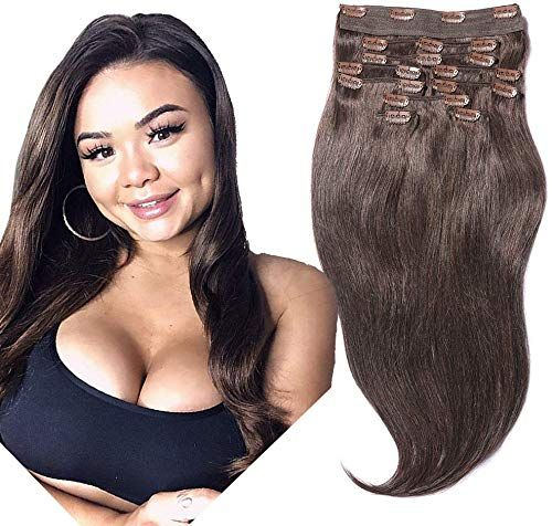 New YONNA Remy Human Hair Clip Extensions Dark Brown #2 Double Weft Long Soft Straight 10 Pieces Thick Ends Full Head 24inch 220g online