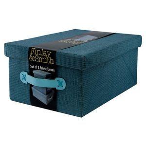 Fabric Box Set of 3 - Blue