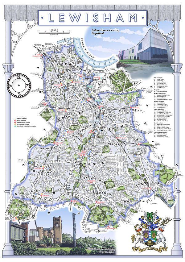 Lewisham Borough 33 x 48 cm illustrated map by thisismikehall