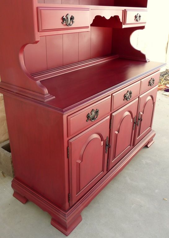 Old Ethan Allen Hutch Painted Red Painted Furniture