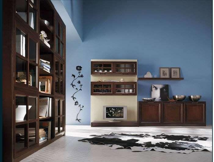 Abbinare i colori delle pareti ai mobili - Mobili scuri e pareti azzurre