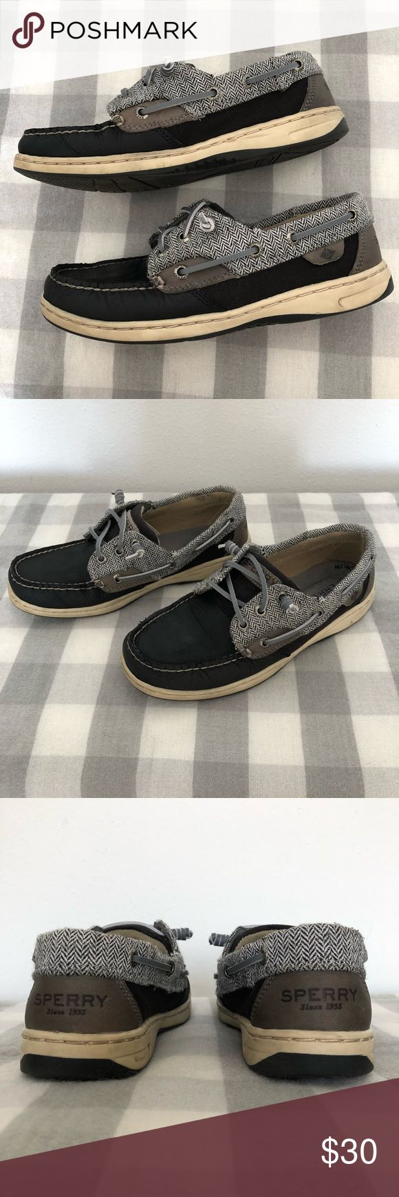 Sperry Top Sider Sperry Top Sider in black and grey leather with b/w herringbone fabric. Light use. These shoes are so comfy with the memory foam!!  Bundle and save!  For sale locally as well. Sperry Shoes Flats & Loafers