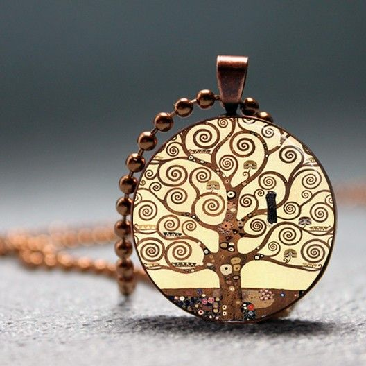 Gustav Klimt Tree of Life copper pendant and a sharply tailored, chocolate coloured suit, would be perfection.