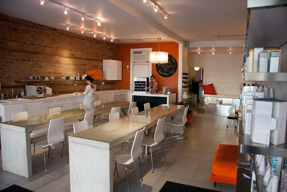 The interior at The Ten Spot offers waxing, manis, pedis, and facials