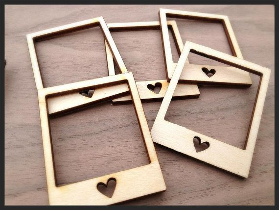 12 Pieces Laser Cut Wood Embellishments Mini Polaroid by Laserbird