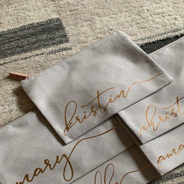 Personalized Monogram Makeup Bag Light Gray and Blush