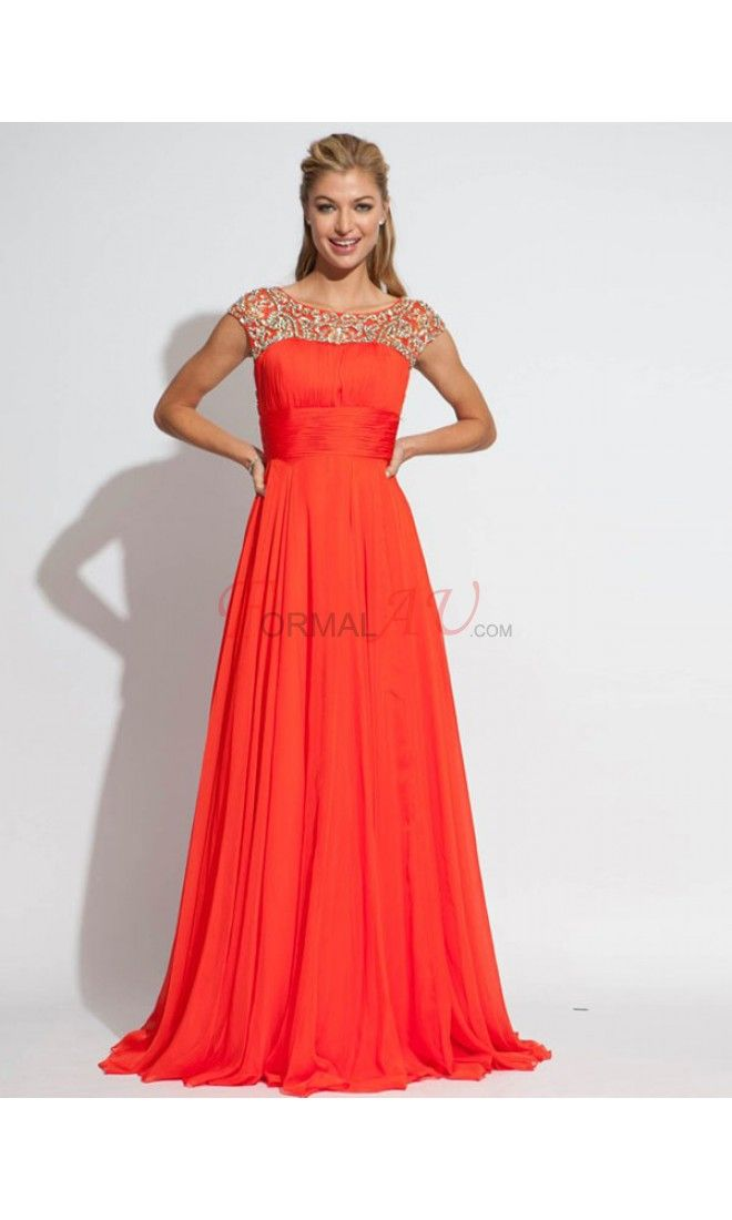 A-line Bateau Chiffon Formal Dresses/Long Evening Dresses with Beading FAU1404P800225 - Formalau.com