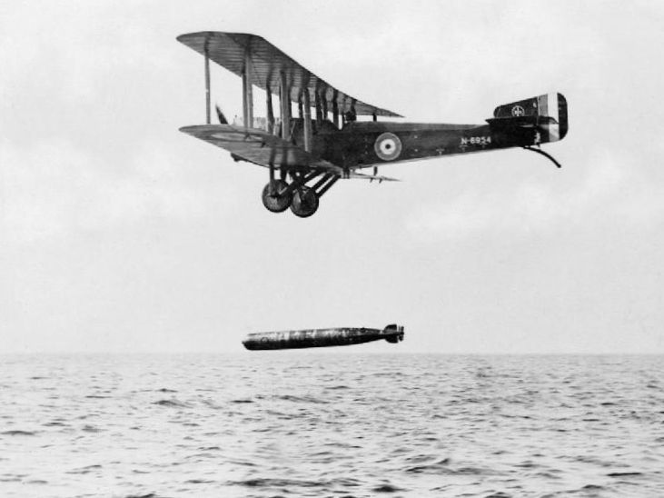 A torpedo dropped from a Sopwith Cuckoo during World War I