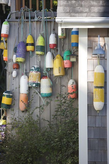 Lobster buoys wash on shore after storms & are fair game for collecting. Each design is registered to a specific lobster boat, and woe to anyone who pulls pots belonging to someone else.