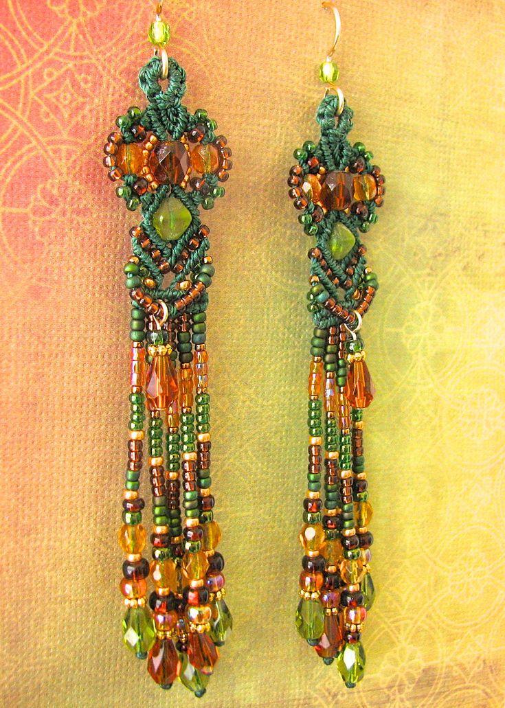 Macrame Earrings -Micro Macrame and Beads -Green Earth tones- Goddess style, Beaded Earrings. $68.00, via Etsy.
