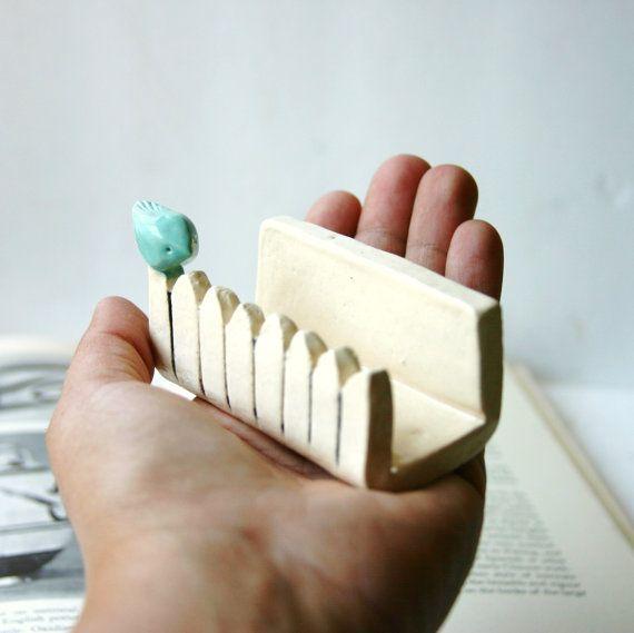 Little Bird On a White Picket Fence - Ceramic Business Card Holder - Tiffany Blue. $21,00, via Etsy.