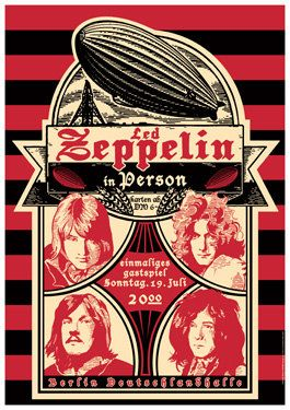 ☯☮ॐ American Hippie Classic Rock ~ Led Zeppelin - July 19th, 1970 - Berlin, Germany - Concert Poster