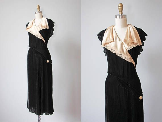 1930s Dress Vintage 30s Dress Black Silk Velvet w Faux