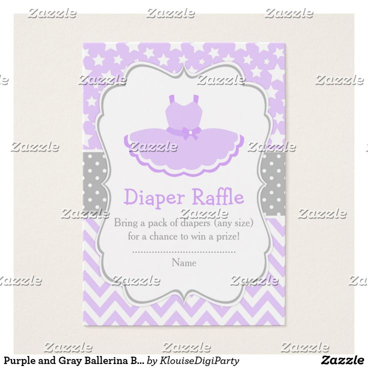 Purple and Gray Ballerina Baby Diaper Raffle Business Card