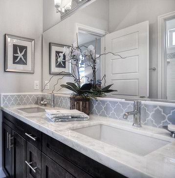 Dark Cabinets Light Gray Walls White Counters Love The Tile Border