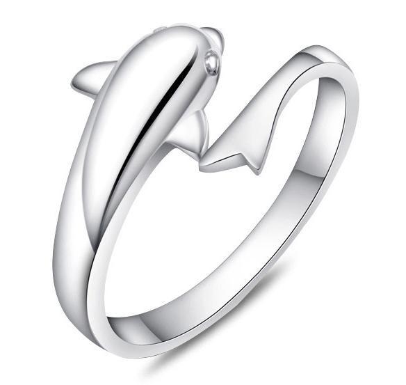 Nieuwe hot selling 925 sterling zilveren bruiloft dier 1 dolfijn ring engagement partij sieraden gift voor vrouwen jz1t53(China (Mainland))
