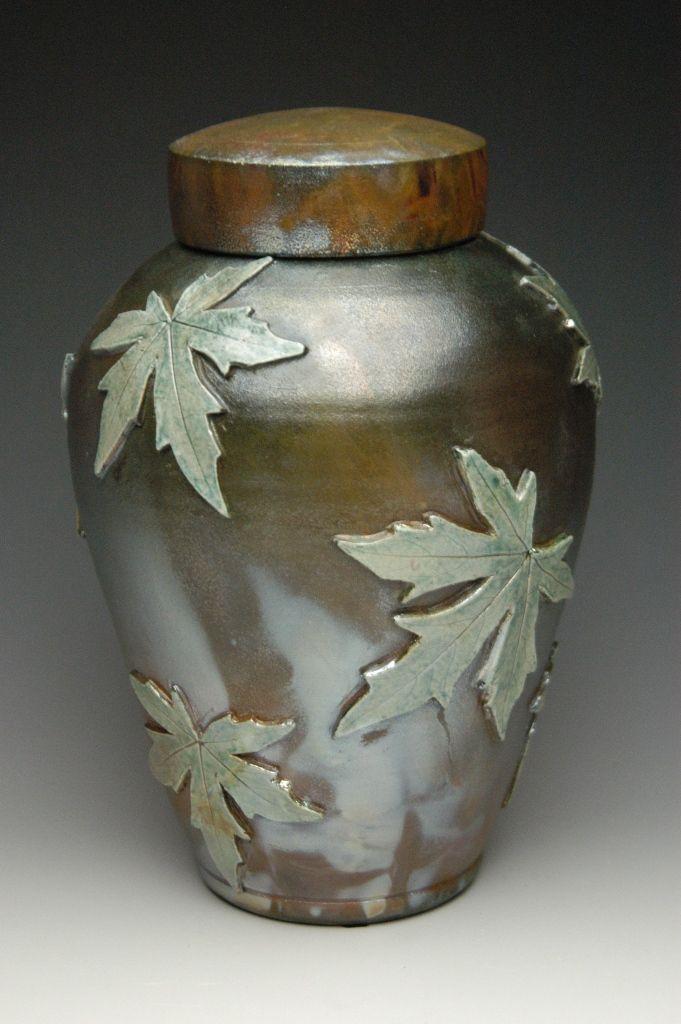 Falling Leaves Maple Raku Urn - Memorial Urns