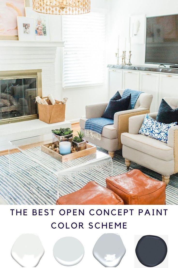 Open Concept Paint Color Scheme In 2020 Open Concept Great Room Paint Color Schemes Great Room Paint Colors