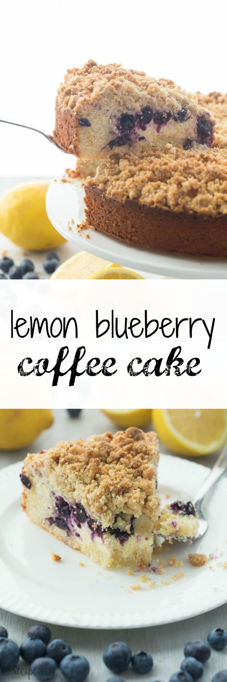 This Lemon Blueberry Cream Cheese Coffee Cake is a soft, moist lemon coffee cake filled with cream cheese and blueberries and topped with a ridiculous amount of crumb topping! The only way to eat coffee cake!