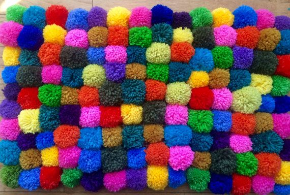 Pom Pom Rug Granny Chic Child's Bedroom Home by FibertonAcres