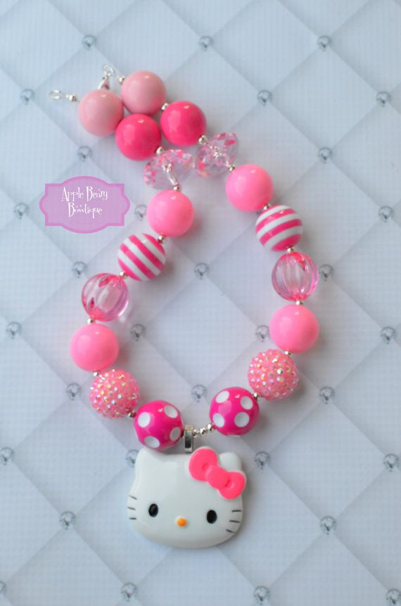 Kitty Chunky Bubblegum Necklace and Bracelet by AppleBearyBowtique, $17.00, children's jewelry, bubblegum beads