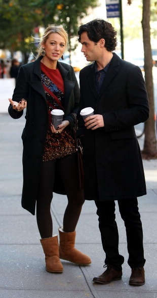 """Blake Lively and Penn Badgley on the set of """"Gossip Girl""""......"""