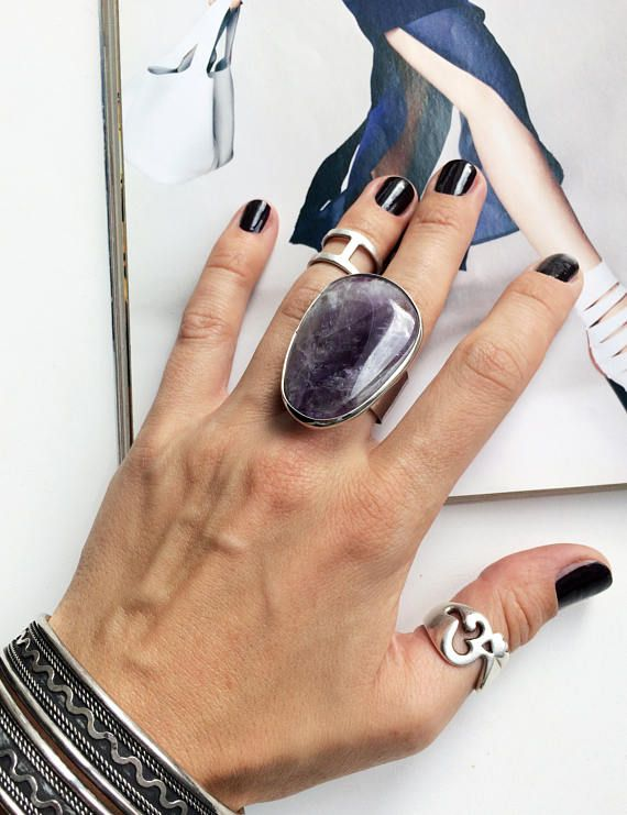 Big amethyst ring natural stone amethyst ring purple stone