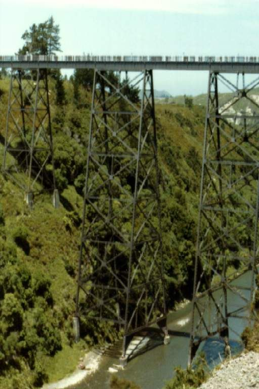Mohaka (pic1983). spanning the Mohaka River about half way between Napier and Wairoa. This bridge is of steel girder construction, is 270 m long and was opened in 1937. Excursionists will be disappointed that high windbreaks on both sides spoil the view for passengers.
