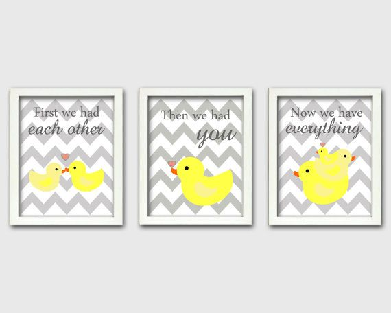 Duck Nursery, First we had each other, gray and yellow nursery, Set of 3, 8X10