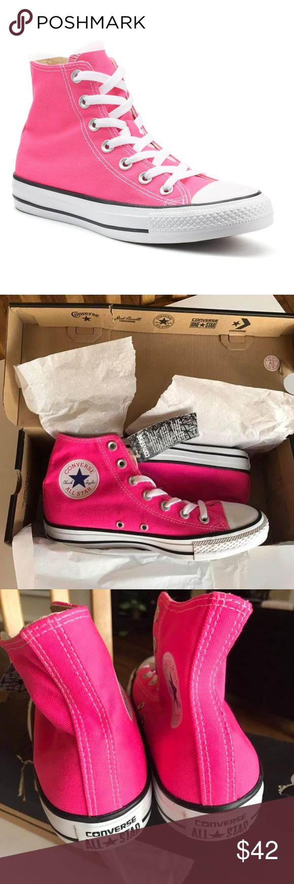 NEW Converse high top chucks sneakers 8 women Sz 8 women (6 men), bright pink high top Converse sneakers, new in box, never worn or tried on Converse Shoes Sneakers