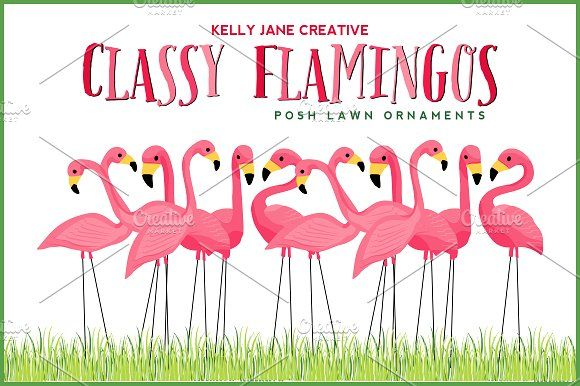 Classy Flamingo Lawn Ornaments by Kelly Jane Creative on @creativemarket