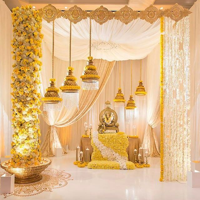 @wisbyragini never disappoints. The show stopping booth at our the #Atlanta WEDDING SHOW. #sabatlanta #weddingdecor #mandap #marigold #yellowmarigolds photo by @derekwintermute