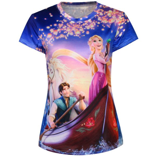 Purple Womens Crew Neck Cartoon Frozen Anna Boat Printed T-shirt ($14) ❤ liked on Polyvore featuring tops, t-shirts, cartoon t shirts, crewneck tee, purple top, crew neck t shirt e crew neck tee
