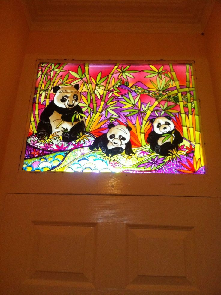 Pandas in the bamboo what a lovely fun design for the top of this door. A unique design for a panda lover. get in touch if you would like an affordable bit of air for your home. www.theglassorchard.com