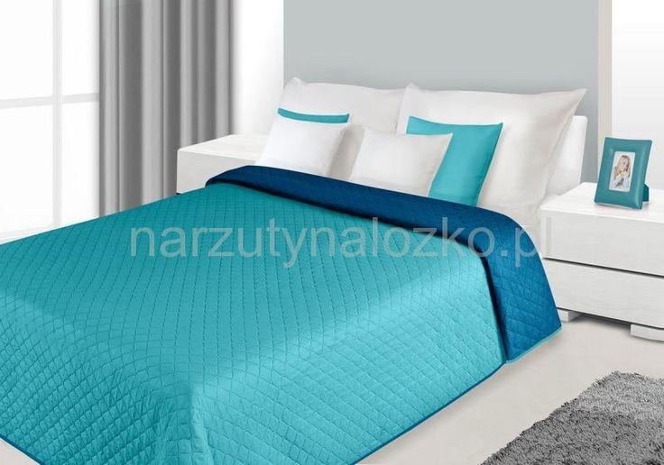Turkusowo niebieskie dwustronne narzuty na łóżka małżeńskie
