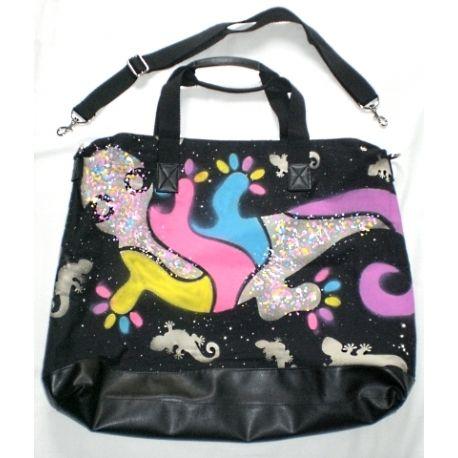 Hand painted gecko bag