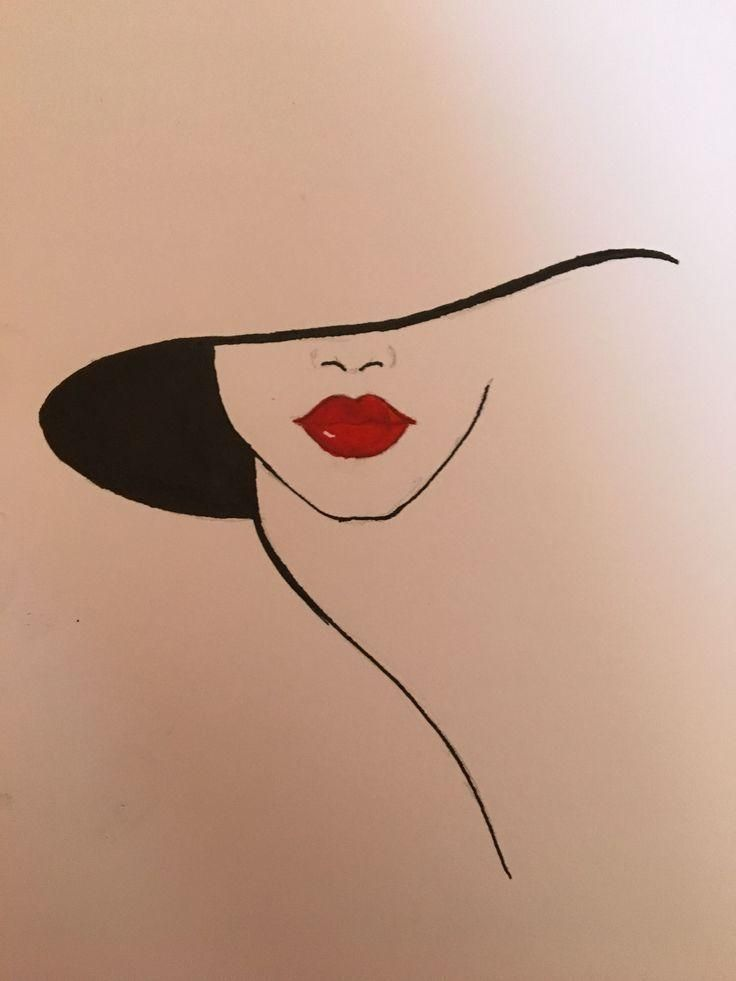 Hat And Red Lips Lippencilnatural Hat Lippencilnatural Lips