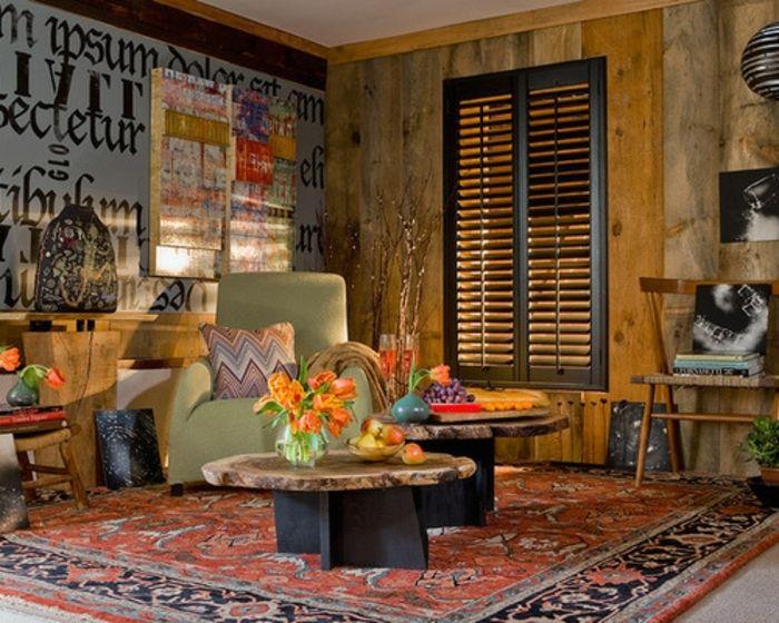 chambre hippie tapis ethnique fauteuil vert bouquet de tulipes oranges