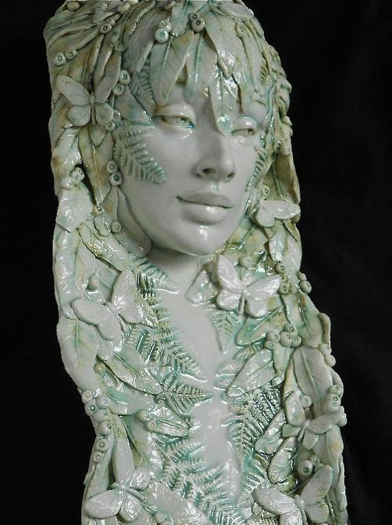 """Porcelain """"Firefly"""" Wood Nymph Series, Wall Pocket or Wallhanging, By Leslie Ahrens on Etsy, $450.00"""