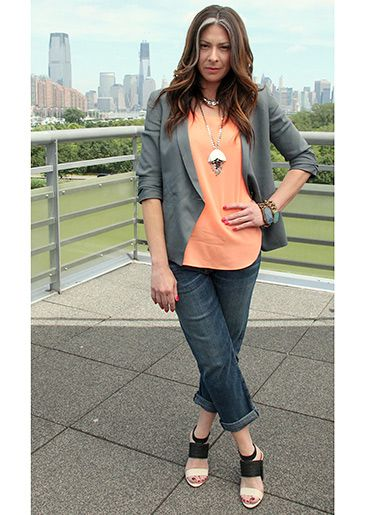 Grey Blazer from Helmut Lang, Orange Tank Top from Theyskens' Theory and Boyfriend Jeans from Current/Elliot #WNTW
