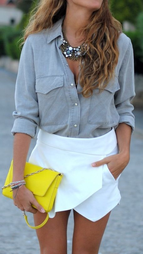 chambray + white skirt + neon clutch.
