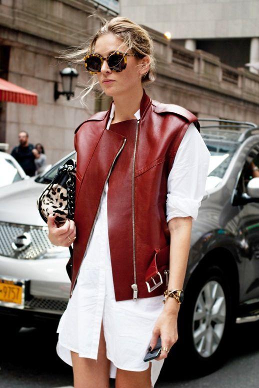 Le Fashion Blog Bloggers Street Style Tortoise Oversize Round Sunglasses Burgundy Leather Vest Leopard Bag White Shirtdress Via Dapprly