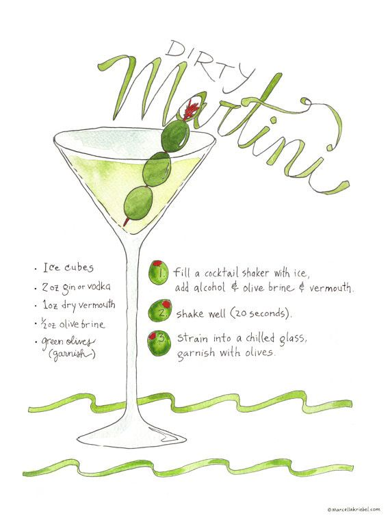 This is an illustrated recipe of a Dirty Martini recipe, including ingredients and preparation. The lettering is hand drawn lettering and recipe is tested. This art print is printed on 100# Ecosilk Ar                                                                                                                                                                                 More