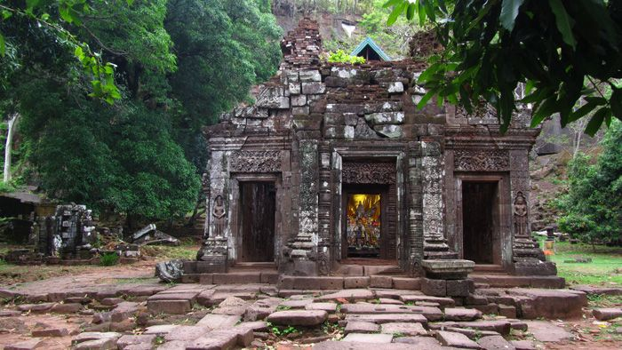 Wat Phou temple complex near Champasak, Laos is an ancient Hindu temple, marked by beautiful natural scenery and a quiet environment. Wat Phou is a tourist attraction where it's still possible to sit in silence and enjoy the ancient wonder in peace.