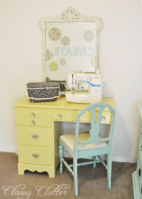 Yellow Sewing Desk Makeover: I have an old student's desk that would be perfect for this!
