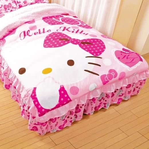 hello kitty single frilly pink ribbon bedcover bedspread bed cover japan gift fs