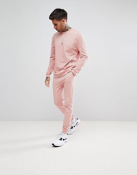 cf49c6d796194 ASOS – Trainingsanzug mit Sweatshirt und superenger Jogginghose in Rosa