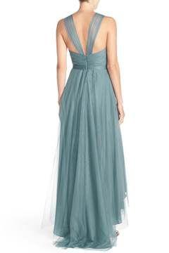 Alternate Image 2  - Monique Lhuillier Bridesmaids V-Neck Tulle High/Low Gown