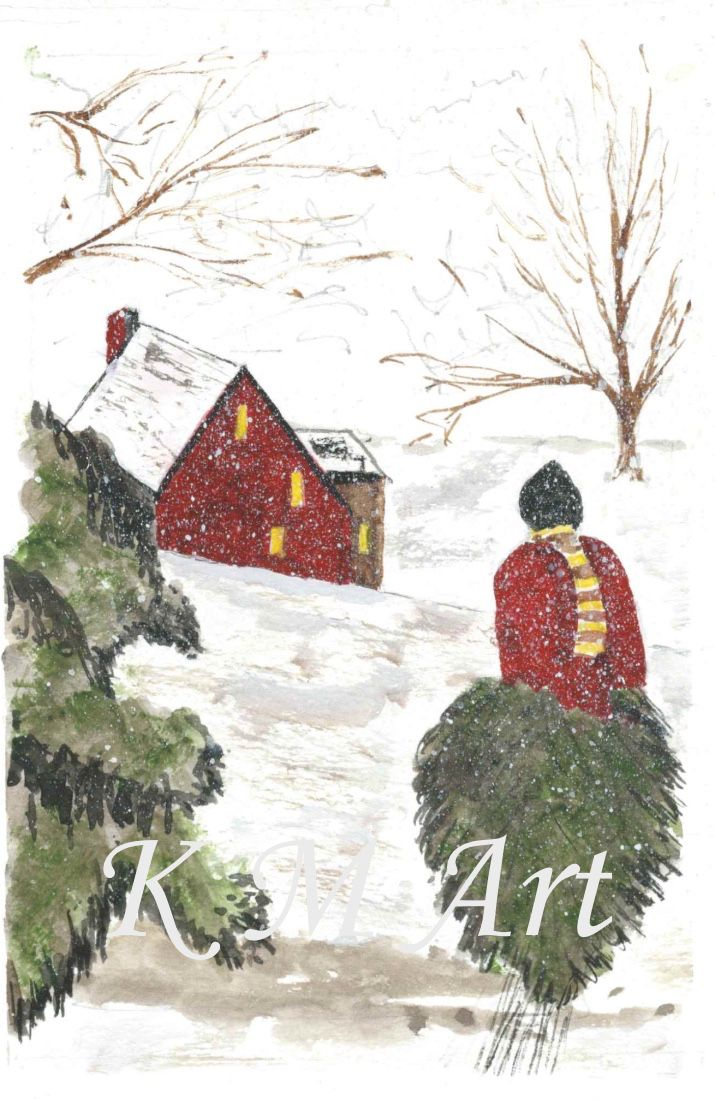 'Taking the tree home' Copies available   #christmas #tree #snow #watercolour #painting