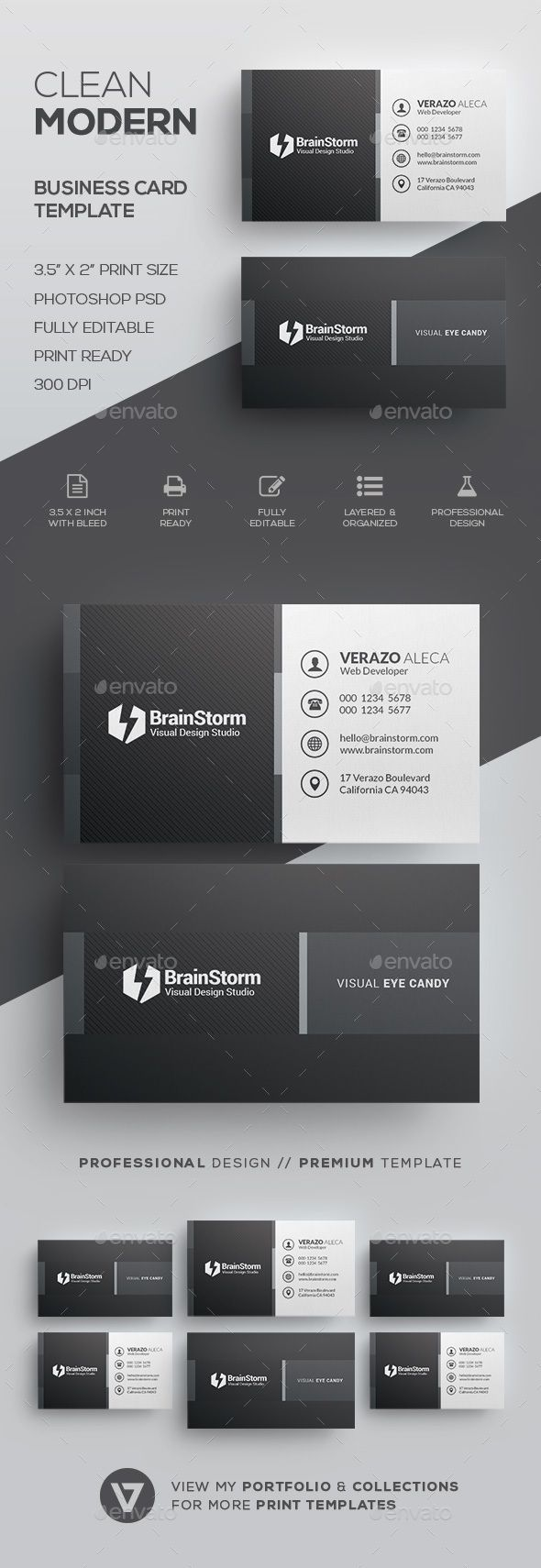 Clean Business Card Template by verazo Need more high quality business card? View my Business Card Templates Collection OR Save Money! Buy Business Card Bundle for only